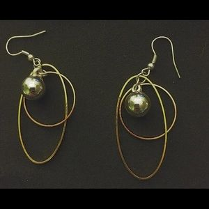 handmade mixed metal dangle hoops